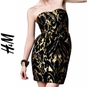 H&M Black and Gold Jacquard Strapless Dress